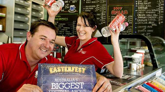 Burger Chef owner Justin Clay and employee Carmel Fry celebrate the boosted trade brought by Easterfest.