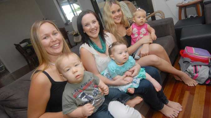 Anne-Maree Nolan, Tianna Muscat and Samantha Mitchell with babies Liam, Kiara and Scarlette.
