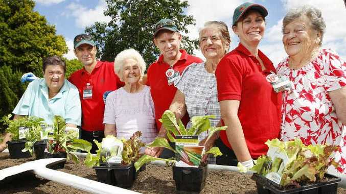 Bunnings Booval employees (from left) Jay Ihaka, Jamie Dewson and Sandra Hellyer build garden beds for Legacy Court residents Jean Hayden, Mirtle Manttan, Hazel Sellars and Iris Barry.