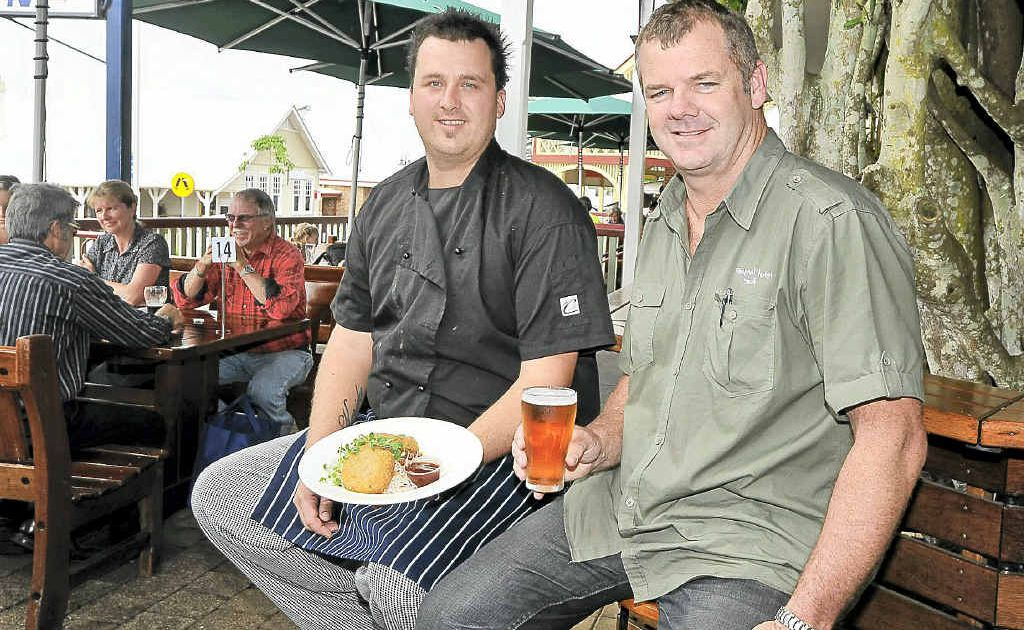 Federal pub chef Nathan Streckfuss (left) and licensee Mick O'Connor are onto a winner with fresh local produce and seafood.