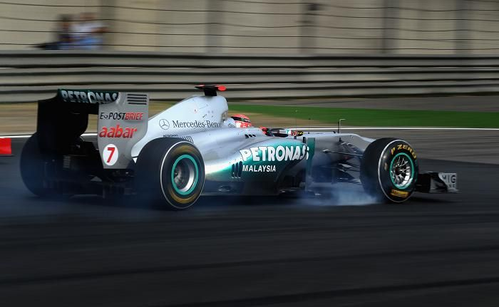 Michael Schumacher of Germany and Mercedes GP drives during the Chinese Formula One Grand Prix at the Shanghai International Circuit.