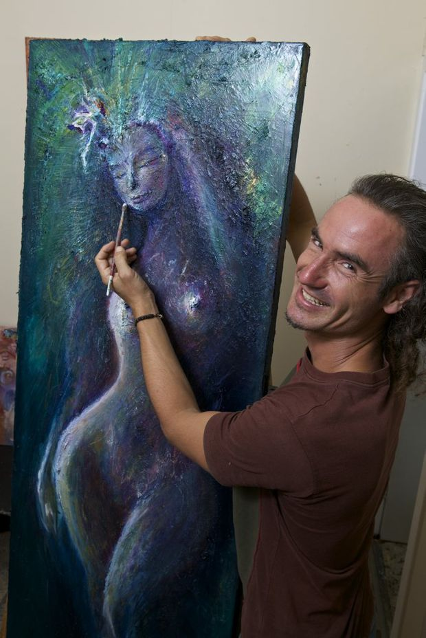 LEAP OF FAITH: Jhana Bowen with one of his stunning artworks.