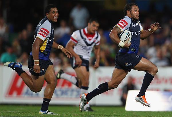 Matthew Bowen of the Cowboys makes a break during the round seven NRL match between the Sydney Roosters and the North Queensland Cowboys at TIO Stadium
