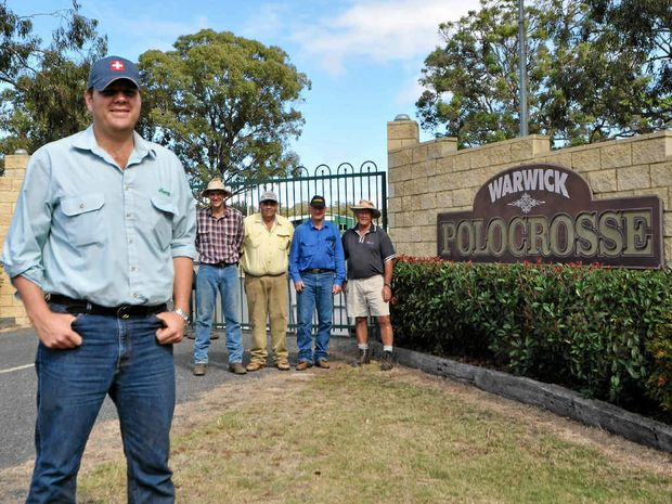 Organisers Warwick Fraser and Cameron Shepherd, vice president of the Polocrosse Association of Australia Rodney Geppert and Warwick club members John Cooper and Merv Mangan.