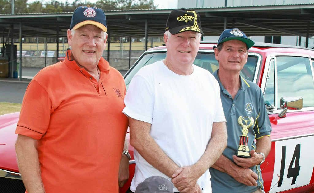(Back, from left) Will Charlton, Bruce Johnston, Jeff Sattler and (front) Jim Haines at the Super Sprints at Morgan Park.