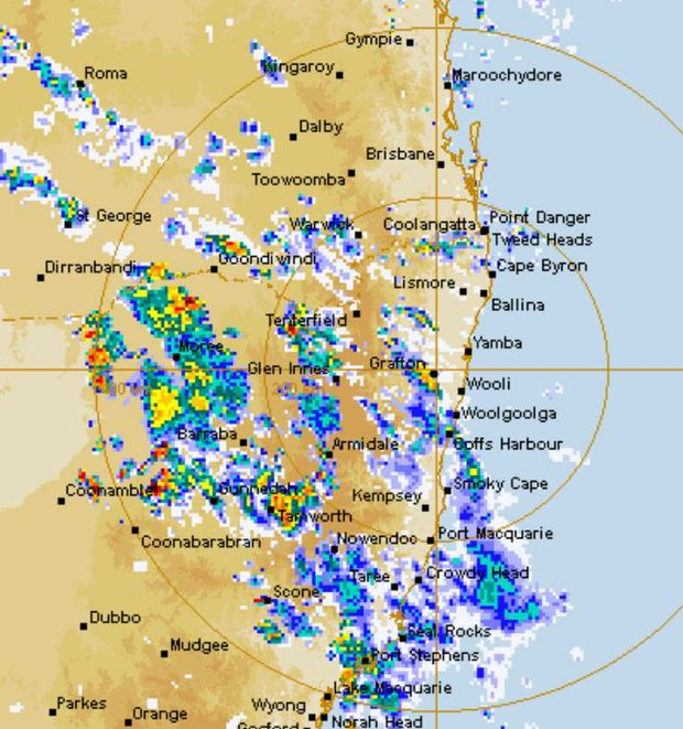 The radar image at 4.30pm today.