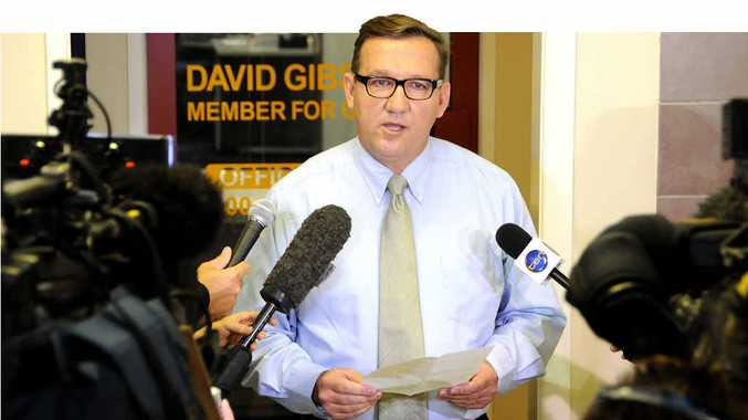 David Gibson explains his historic resignation as he addresses yesterday's media conference in the foyer of his Gympie office in Channon St.