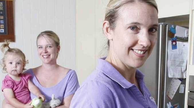 Eleana Hunter (right) and Clair Warburton with Alice have started up a business to help mothers.