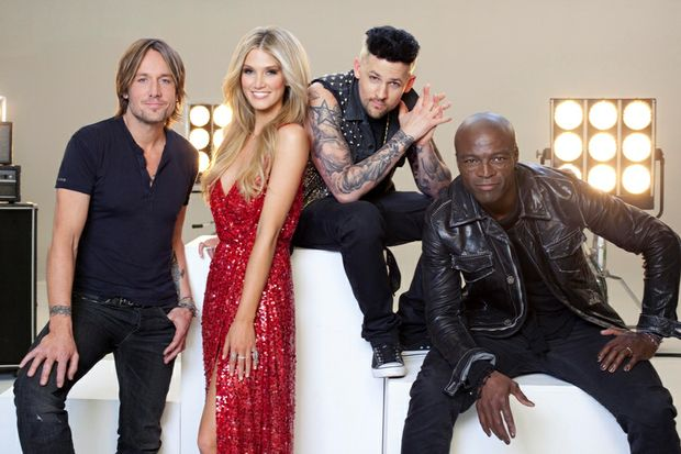 The Voice coaches, from left, Keith Urban, Delta Goodrem, Joel Madden and Seal.