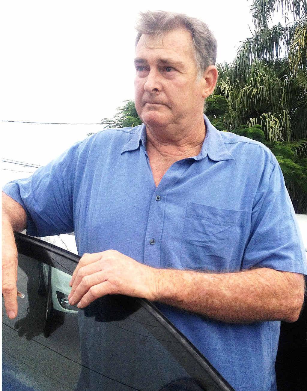 John Hopkins, father of murder suspect Sean Murray Hopkins outside Hervey Bay Court yesterday.