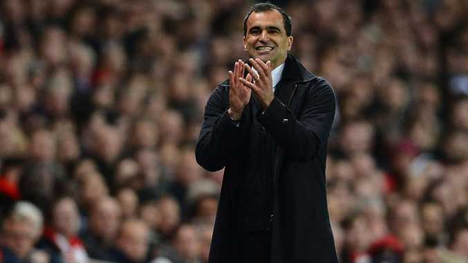 Manager Roberto Martinez of Wigan gives instructions during the Barclays Premier League match between Arsenal and Wigan Athletic at Emirates Stadium on April 16, 2012 in London, England.