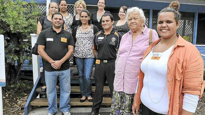 Pictured at the Youth Activity Centre at the BDCSA for the sign-up of the Regional Aboriginal Traineeship Project are Sanice Binge (front left) and Aunty Bertha Kapeen. From middle left, Audley Hickling, Denise Saunders, and Lindsay Ridgeway. From back left, Famee Torrens, Sasha Walker, Katie Clarke from the Central west Apprenticeship centre, Sue Ashton BDCSA Manager of Aged Care Unit and Dusty Davies from BDCSA Human Resources.