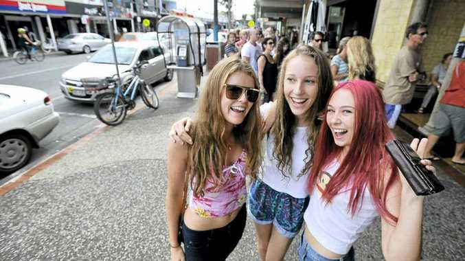 Daisy Buckthorpe, Isabella Rowland and Mel Wilson, all 16 and from Mullumbimby joined the line up for tickets to Splendour in the Grass that went on sale to locals on Sunday.