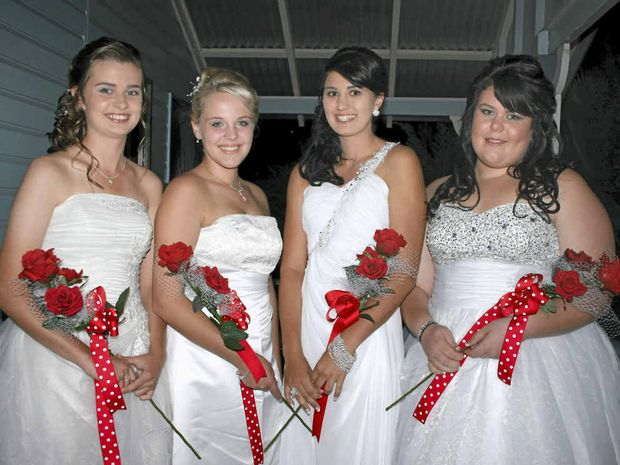 Chloe Ruhle, Dakota Eden, Samantha Burton and Katrina Edmondstone at the first St Mark's Anglican Church Debutante Ball in 10 years.
