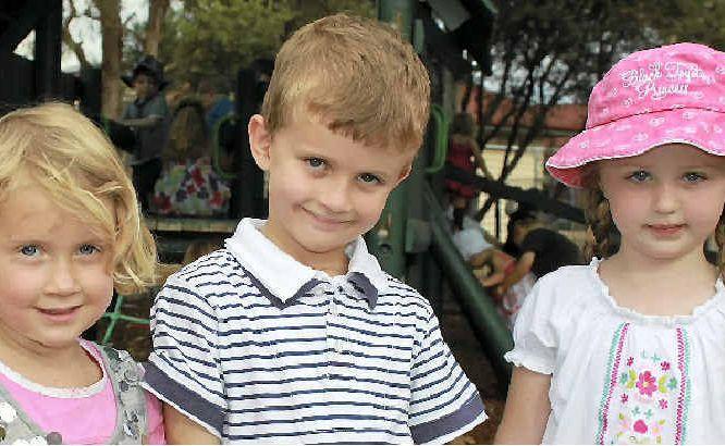 Amy Ryan, Thomas Ryan and Mckayla Demamiel at The Warwick Community Kindergarten party on a fine Sunday.