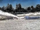 The Good Guys superboat slices through the water at Newcastle in the opening round of the Offshore Superboats Championship.