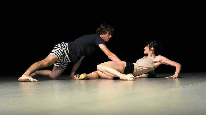 Rising dancer Harrison Hall and local artist Jessica Thompson in rehearsal at the Gladstone Entertainment Centre.