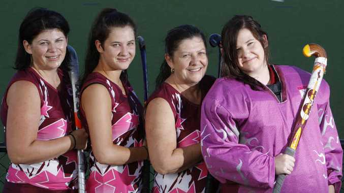 Collegians life member Michelle O'Connor (second from right) lines up ready to play between her twin daughters Laura and goalkeeper Kate, and her niece Teleah McPeake.