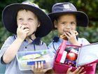 Ipswich Girls' Grammar School prep children Jack Baker and Lily Richardson enjoying a healthy lunch at school.