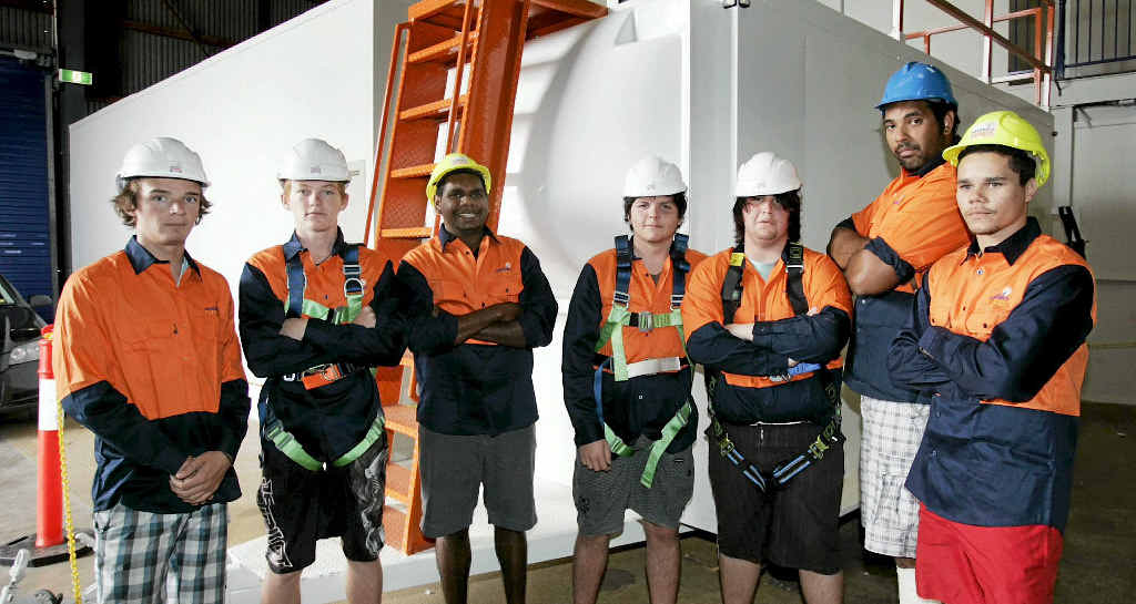 Nathan Austin, Luke Watson, Marley Adams, Allan Robert, Corey Toon, Damien Dwyer and Desmond Gooda are looking forward to a career in the mining industry after completing a course at Smart City Vocational College.