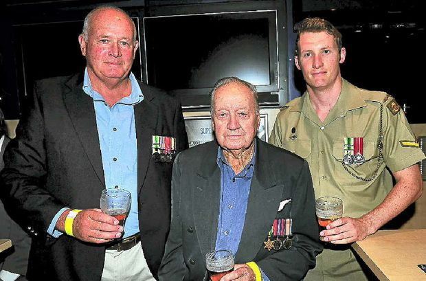 Three generations Paul Rayner, Arch Ferguson and Tim Rayner get together after the service.