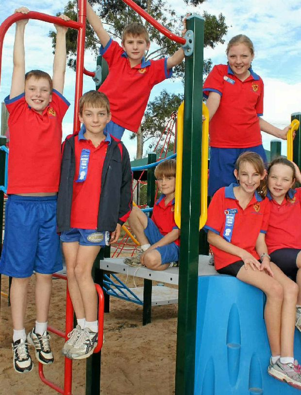 Freestone State School students, (from left) Travis Lambert, Tom Sollars, Tom Ramsey, Lachlan Sollars, Victoria Watson, Jessica Mauch and Clare Ramsey were excited to hear how well their school fared on the statewide IC SEA evaluation.