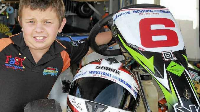 Nick Lane with his kart at the Warwick Karting Club meeting on Sunday.