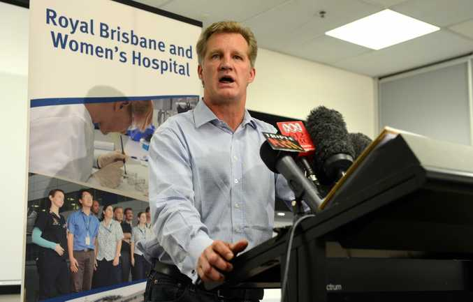 Wallabies great Michael Lynagh speaks during a press conference at the Royal Brisbane hospital, Wednesday, May 2, 2012. The 48-year-old was released from hospital after suffering a stroke.
