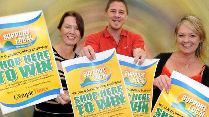 Gympie Times ad reps Sharon Turner, Dallas Shaw and Ruth Donachie want you to shop locally.