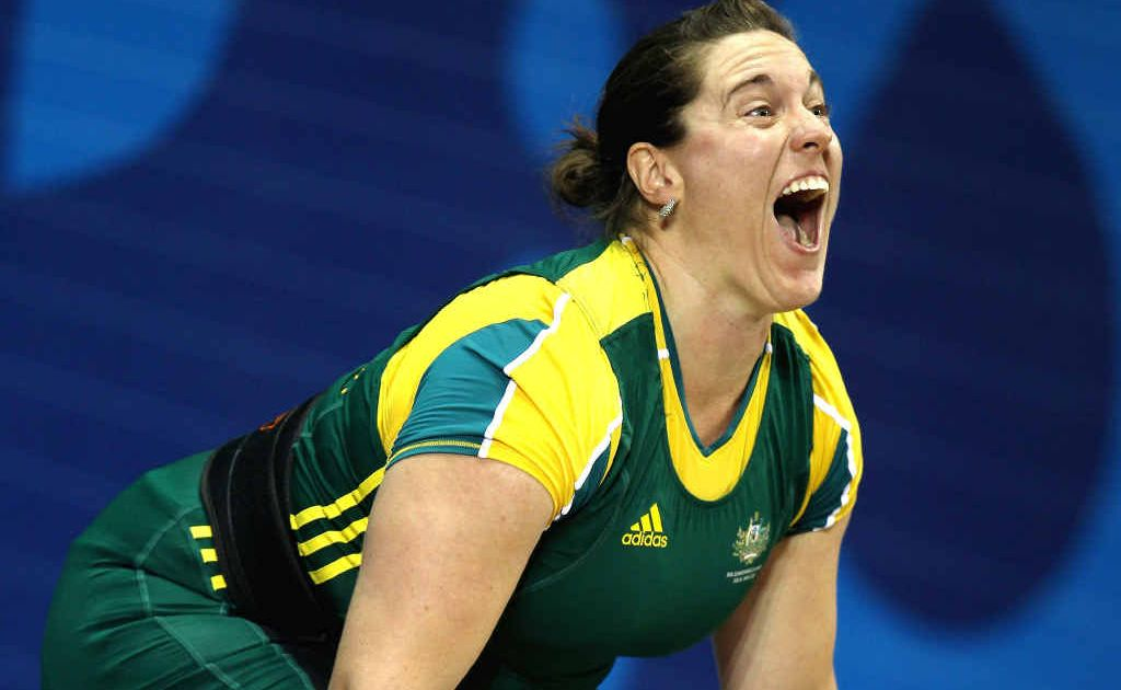 Ipswich weightlifter Deborah Acason screams with determination on her way to a bronze medal at the 2010 Commonwealth Games.