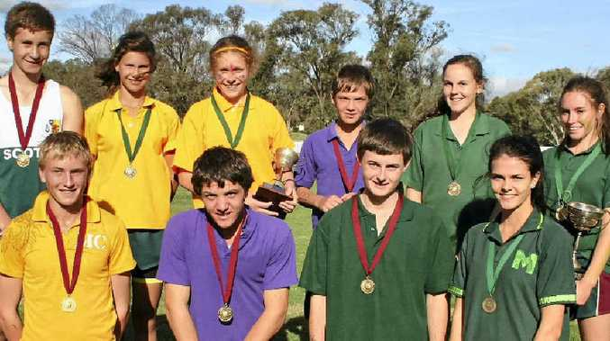 Scots PGC senior cross country champions (back, from left) Nathan Coleman, Demi Hayes, Sarah Ogden, Brock Wild, Rylie Douglas, Cassandra Heaslip; (front) Nick Hall, Jack Wild, Kieran Bourke and Sally Christie.