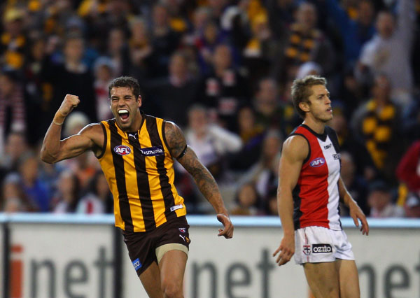 Lance Franklin of the Hawks celebrates after kicking a goal during the round six AFL match between the St Kilda Saints and the Hawthorn Hawks at Melbourne Cricket
