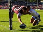 Dean Whare of the Sea Eagles scores a try during the round nine NRL match between the Manly Sea Eagles and the Canberra Raiders at Brookvale Oval