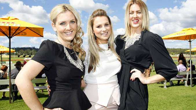 Sheree Thornton, Tiffany Spurrier and Lexus Manning at the One Mile Gift Raceday fundrasier for the Ipswich Hospital Foundation and St Edmund's College Foundation.