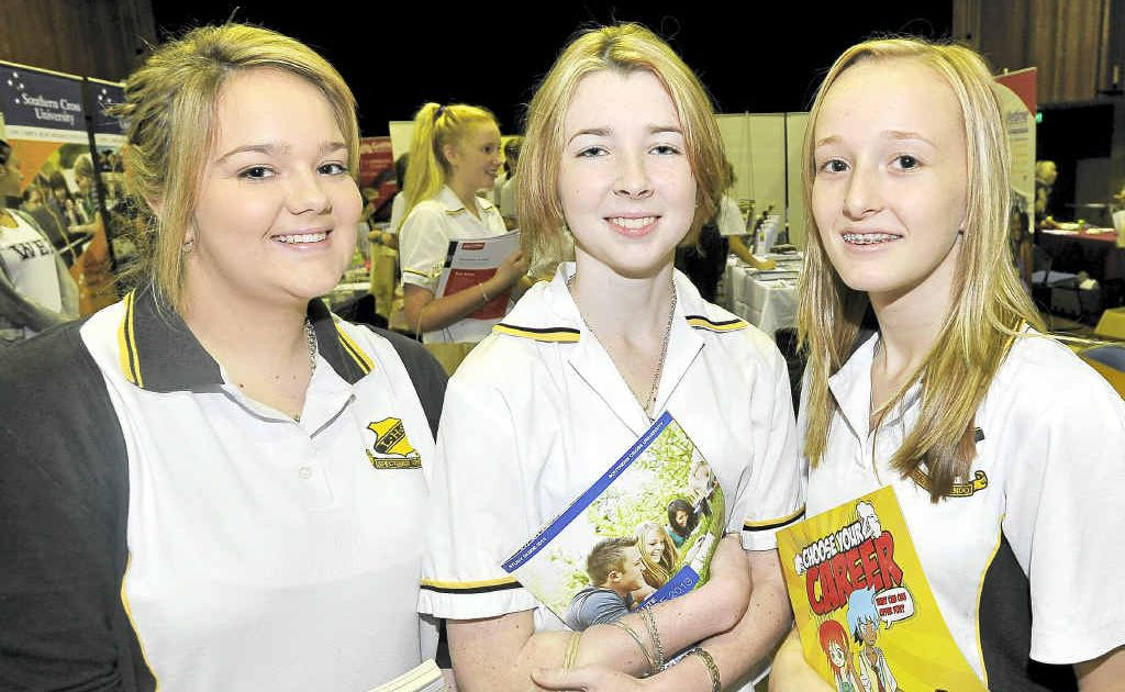 Angela Butts (left), Maeve Kronen and Karlie Balzer all of Lismore visiting the career expo at Lismore City Hall.