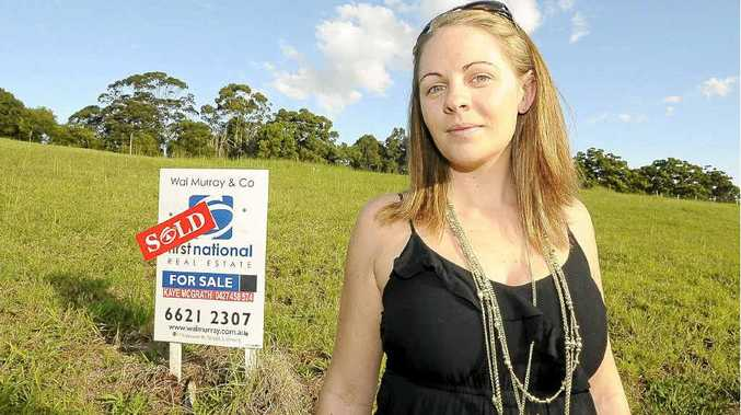 Michelle Simpson, on her block of land in Joy St, Goonellabah, spent weeks looking for the best home loan deal.