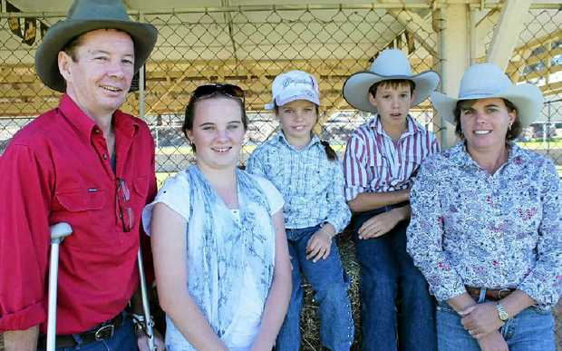 Brendan, Katie, Hanna, Jack and Tanya McIvor at the auction at the Eastern Downs branch of the Australian Stock Horse Society weekend.