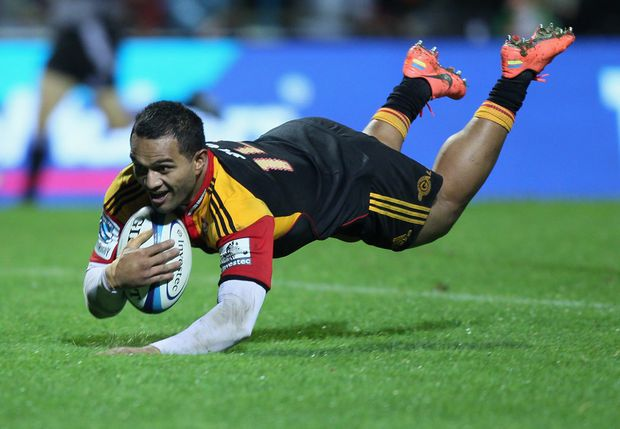 Lelia Masaga of the Chiefs dives in for a try during the round 11 Super Rugby match between the Chiefs and the Lions at Waikato Stadium.