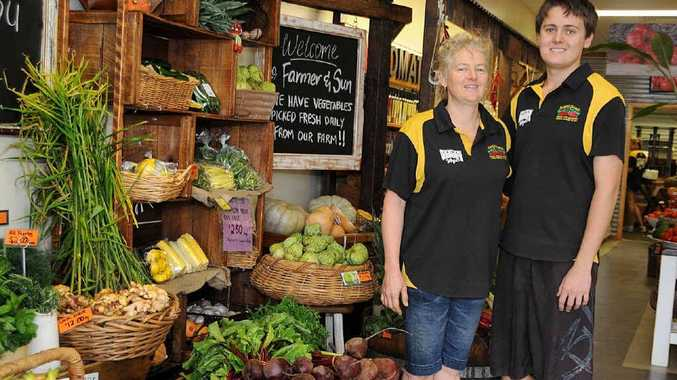 Trena and Layton Waugh at the Steve Waugh's Fruit and Veg store at Southside Town Centre.