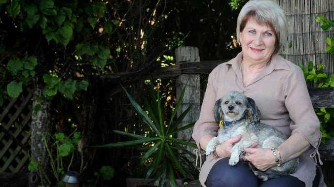 Kay Magick with dog Marley after her car crash near Kilkivan.