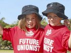 Hayley and James Hember-Tlomac parade their 'Future Unionist' T-shirts at the Queens Park fun day which followed the annual Labour Day march.