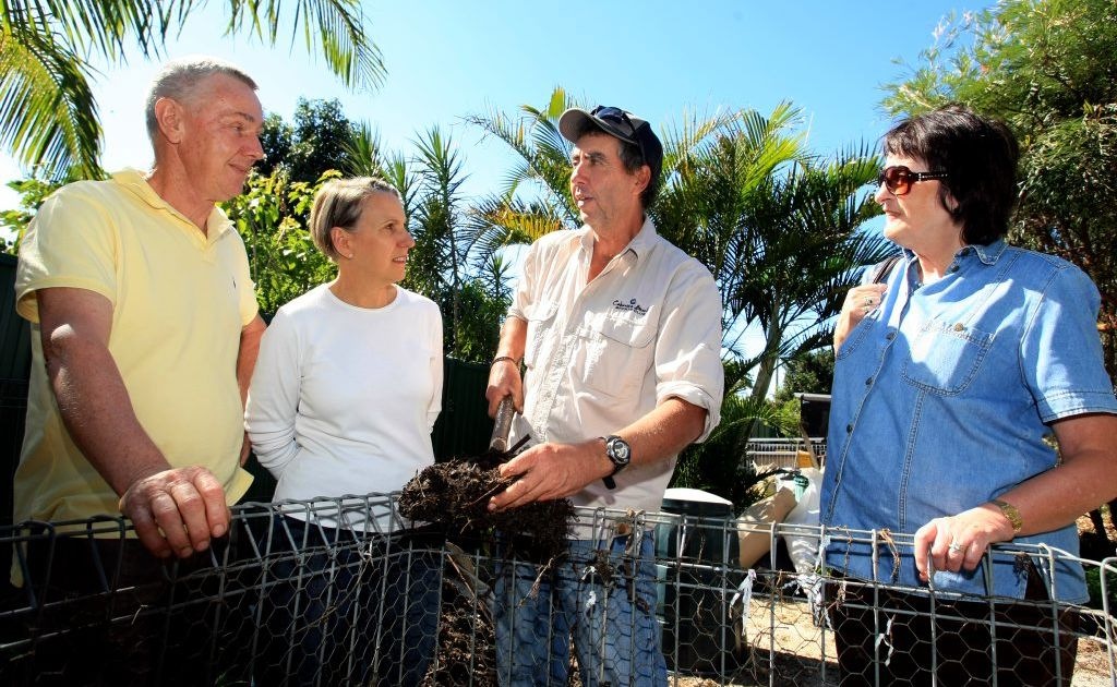 Frank Paice, Robyn Everingham and Marilyn Cameron-Dow with composting guru Dave Perez (centre).