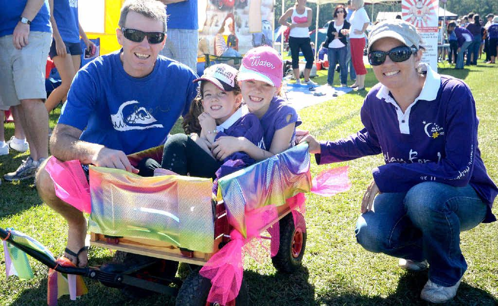 Brett Dart with Emma, Amanda and Brooke at the Relay For Life.