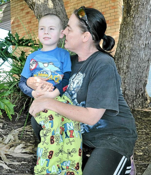 Mother of four Tammy Grehert with Bohdi, 5, is unimpressed with planned Federal Budget cuts to single parenting payments.