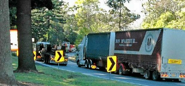 HAZARDOUS: Hundreds of trucks converse the Toowoomba Range every day. It's a trip that can be made dangerous during wet conditions with oil and fuel causing heavy vehicles to slip on the steep grade.