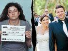 Tina Damasco's police mugshot in 2002 and on her wedding day in 2010 with husband David Gunter.
