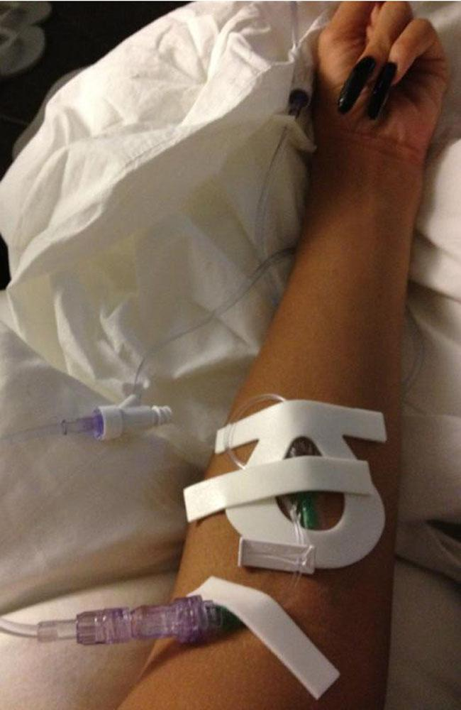 Rihanna tweeted a photo of herself in the hospital.