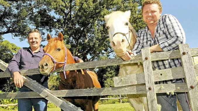 Horseman Bruce Lee (left) of Bora Ridge and psychologist David Godden of Possum Creek are advocates of equine therapy.