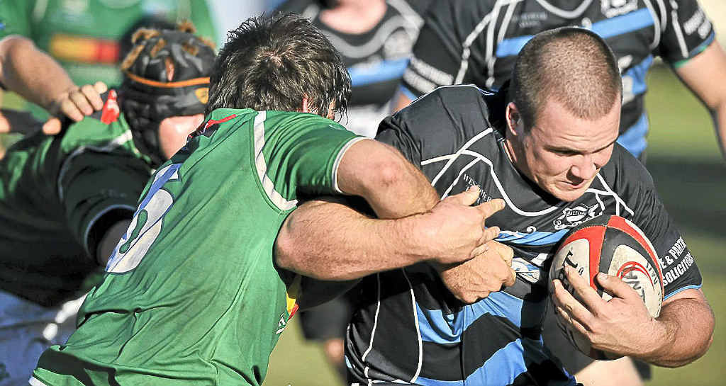 Ballina hooker Aidan Cub is tackled in the game against Lennox Head at Quays Reserve, Ballina.