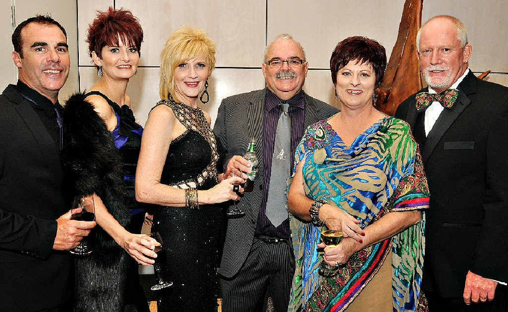 Mackay Mayor Deirdre Comerford and her husband Brett (right) with Darren and Kylie Davies (left) and Maura and Kerry Woodman at the annual Mayor's Charity Ball on Saturday night.